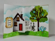 Kelly Booth using the Pop it Ups House Pivot Card die by Karen Burniston for Elizabeth Craft Designs. (House Pivot Card starts shipping to stores 4/15/14)  - Lovin The Life I Color: Have You Seen the New House Pivot by Karen Burniston??