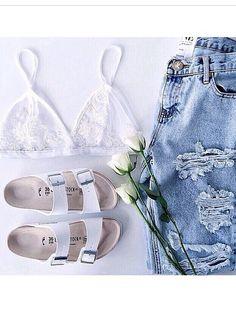Lace / denim / Birkenstock slip ons / Spring / Summer / look