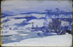 Clarence Gagnon (1881-1942)  The Bend of the River date unknown  Oil on wood panel, 11.8 x 18.0 cm  Purchase 1985  McMichael Canadian Art Co... Follow the biggest painting board on Pinterest: www.pinterest.com/atelierbeauvoir