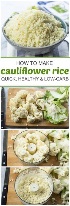 How To Make Cauliflower Rice (Quick Healthy Low-Carb Paleo) weightloss lowcarb Low Carb Recipes, Vegetarian Recipes, Cooking Recipes, Healthy Recipes, Vegetarian Cooking, Vegetarian Bacon, Cooking Bacon, Cooking Games, Tofu Recipes