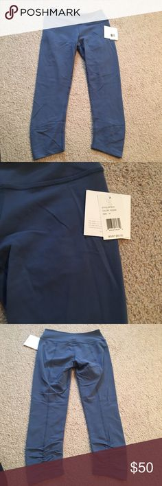 """NWT! Beyond Yoga Back Gathered Crop Adorable crop/ankle length beyond yoga leggings. Very soft! Medium rise waistband and flattering seams. If in between sizes, go down one size. Color name is """"faded denim"""". Reasonable offers accepted. Smoke/pet free home. No trades! Beyond Yoga Pants Leggings"""
