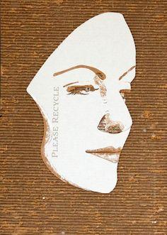 Des portraits réalisés sur de simples morceaux de carton, que l'artiste anglais Giles Oldershaw déchire morceau par morceau afin de sculpter des visages ave