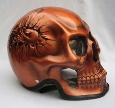 Awesome copper skull motorcycle helmet. Show 'em what's inside counts!