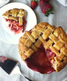 Strawberry Rhubarb Pie with an Almond Crust - My Dad's favorite pie...just like grandma used to make!