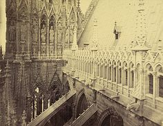 Unidentified photographer. Reims Cathedral, view from Tower over Buttresses, ca. 1880-95. Albumen print. 15/5/3090.01578, Andrew Dickson White Architectural Photographs Collection. Division of Rare and Manuscript Collections, Cornell University Library