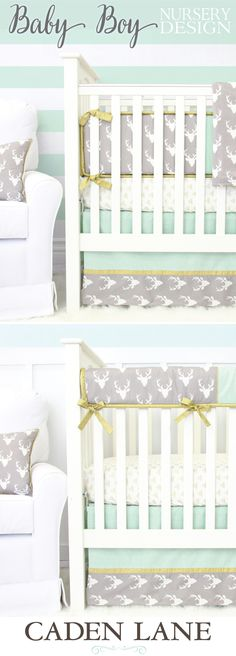 One of our favorite baby boy crib bedding sets in mint and gray
