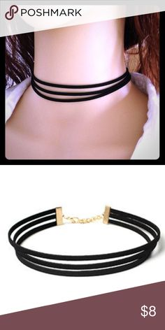 Vegan suede 3 strand choker Cute vegan suede choker with 3 strands. Black with gold tone hardware. This necklace goes with anything! Jewelry Necklaces