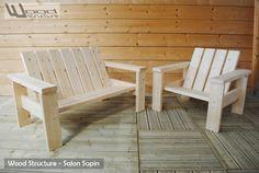 Fauteuil et banc bois pour salon de jardin - Wood Structure