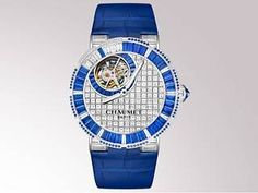 Chaumet Unique piece - Class One Tourbillon automatic watch in white gold, paved with sapphires and diamonds, diameter of 42 mm (XL model