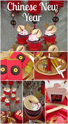 What a great celebration for Chinese New Year! Love the glittered fortune cookies! See more party ideas at CatchMyParty.com. #chinesenewyear
