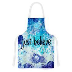 """Ebi Emporium """"Just Believe"""" Blue Purple Artistic Apron"""