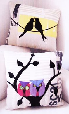 Love Bird Cushion - 2 applique & pieced pillows pattern - Wendy Williams of Flying Fish Kits| http://www.flyingfishkits.com.au/kits/index.asp