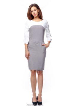 4d0a01ebe7c Приталенное+платье+из+костюмной+ткани+комбинированой+с+бенгалином.