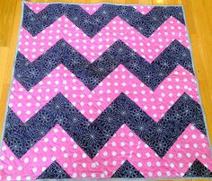 Modern Navy and Pink Chevron Baby Quilt by SewingbyJenn on Etsy, $125.00