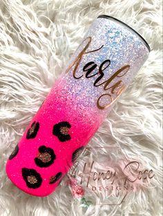 Glitter Tumblers, Glitter Cups, Pink Glitter, Cheetah Crafts, Monogram Cups, Christmas Tumblers, Diy Ombre, Pink Cheetah, Custom Tumblers