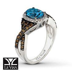 Kay - Oval Blue Topaz Ring 5/8 ct tw Diamonds 14K Vanilla Gold™