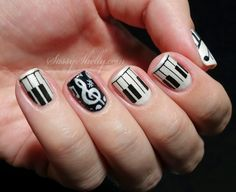 Piano / music nails - black & white nail art