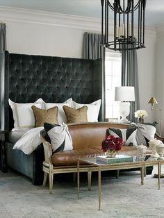 tall tufted headboard + leather love seat   via Dreamy Bedrooms ~ Cityhaüs Design
