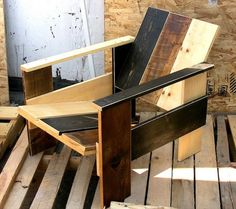 Rustic Rietveld Krate Chair.  Could upholster it with green shag.