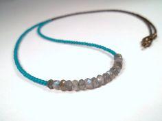 Long Bohemian Howlite Turquoise Labradorite Glass by CarmenRVT