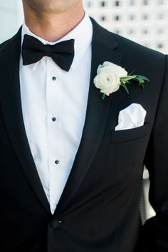 Classic black bowtie: http://www.stylemepretty.com/massachusetts-weddings/salem-ma/2016/01/06/backyard-seaside-massachusetts-wedding/ | Photography: Rachel Red - http://rachelredphotography.com/