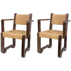 Set of Four Wooden and Rush Side Chairs   1stdibs.com