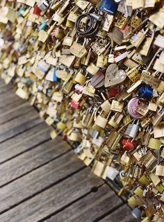 Rosemary and I saw this by accident in Paris. We wished we had time to purchase two locks! Love Locks in Paris | Photography: Sansaara Photography