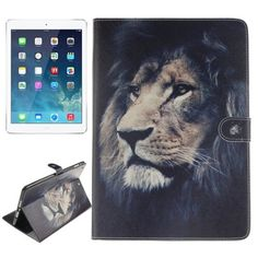 For+iPad+Air/iPad+5+Lion+Pattern+Leather+Case+with+Holder,+Card+Slots+&+Wallet