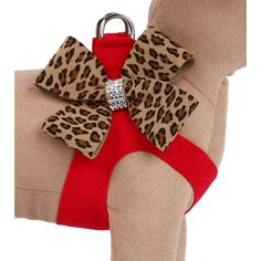 Susan Lanci Two-Tone Nouveau Bow Step-In Dog Harness- Red Cheetah at GlamourMutt.com