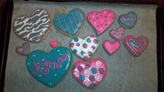 Going away girlie cookies - Teal, pink, gray, and white hearts with different patterns