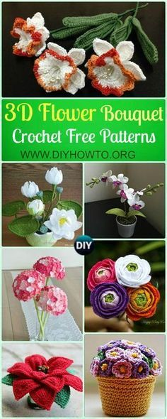 Crochet 3D Flower Bouquet Free Patterns: Rose, Hydrangea, Waterlily, Christmas Poinsettia, Orchid more Vivid in Pot or Vase via /diyhowto/