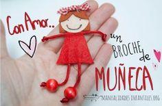 Broches de #Muñecas hechas de #Fieltro