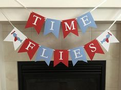 Time Flies Banner Airplane Themed Birthday Airplanes Plane