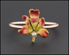 Antique 10k Gold Iris Flower Ring Art Nouveau by TrademarkAntiques