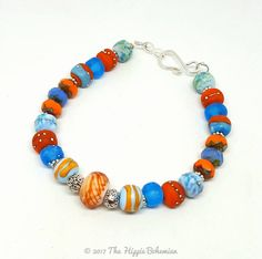 Blue and Orange Bohemian Bracelet