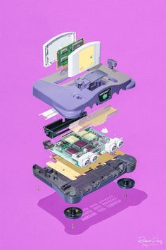 Nintendo Systems by Richard Parry -Exploded Nintendo Systems by Richard Parry - Gameboy colour rendering poster. Perfect for gamers who love vintage consoles. Photographer Captures the Hidden Beauty Inside Stripped Down Gaming Consoles Framed Art Prints, Poster Prints, Nintendo Systems, Pokemon, Videogames, Video Game Art, Print Artist, Cool Artwork, Hidden Beauty