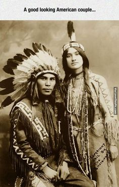 A Real American Couple funny photography vintage photo native americas
