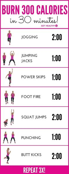 How do we know youll burn 300 calories? Most experts agree that the average 150-pound woman, exercising with intensity, will burn about 100 calories in 10 minutes. This 30-minute workout, if done with INTENSITY (youre working hard enough to breathe thro