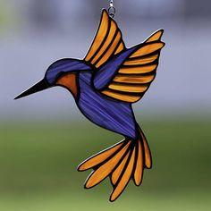 Stained glass hummingbird suncatcher, stain glass humming bird ornament on Etsy