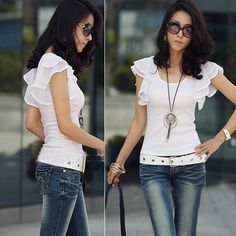 verão 2013 mulheres moda casual folha de lótus manga curta t- shirt tops blusa 6.99