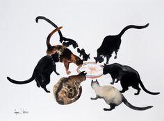 Chats ensemble - aquarelle originale