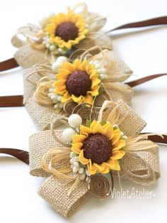 Set of 2 Rustic Sunflower Wedding Corsages 2 by VioletAtelier