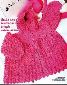 Croche pro Bebe: Casaco Vermelho
