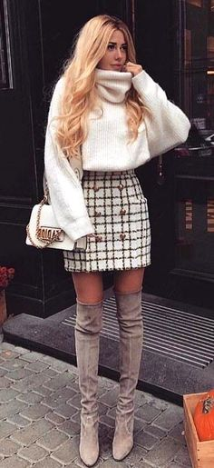 Beste Fall-Outfit-Idee mit einem Tweed-Rock – Your Outfits – Outfit Ideas Christmas Fashion Outfits, Cute Christmas Outfits, Cute Fall Outfits, Casual Winter Outfits, Holiday Outfits, Cute Winter Outfits Tumblr, Women's Winter Fashion, Winter Outfits With Skirts, Christmas Outfit Women