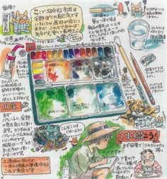 "Hayao Miyazaki's advice on how to use transparent watercolors in the booklet of the Ghibli Museum Sketching Set. Title: My recommendation. Transparent watercolor is good. ""transparent watercolor has a..."