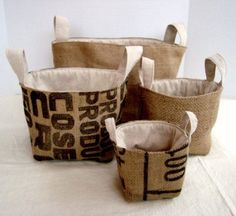 nesting baskets made from Coffee sacks! pattern not free Burlap Coffee Bags, Coffee Bean Bags, Coffee Sacks, Burlap Bags, Jute Bags, Burlap Projects, Burlap Crafts, Fabric Crafts, Sewing Crafts
