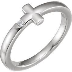 14K White Sideways Cross Ring Mounting - Cute!