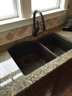 Travertine Back Splash (installed On An Angle), Granite Counter Tops,  Under Mount Curved Sink (granite Composite In Mocha) U0026 Oil Rubbed Bronze  Faucet!