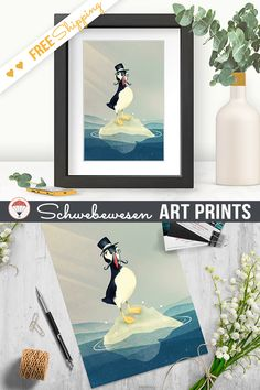 Funny Puffin Art Print, Iceland Gift, Bird Drawing, Weird Bird Illustration