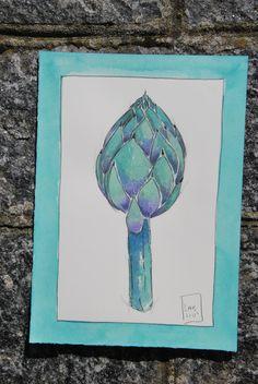 carciofo illustrazione acquerello verdura di LabLiu su Etsy